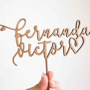 Topo de Bolo Personalizado Rústico | Fernanda e Victor