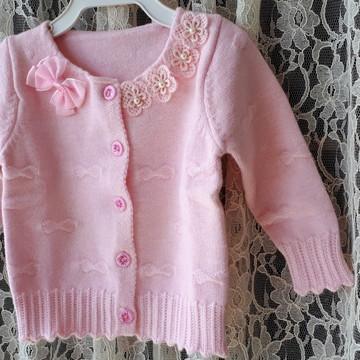 71a60aae14 Casaquinho cardigan lã rosa
