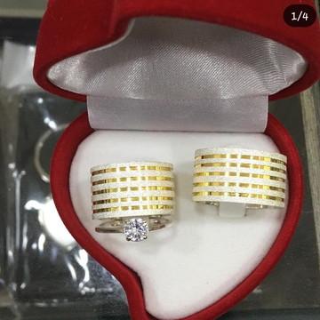 Aliança de Prata 12mm filetes em ouro18k Namoro compromisso