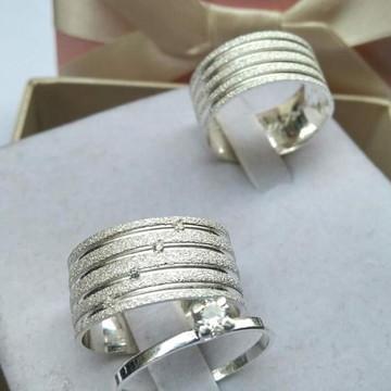 Aliança de Namoro em prata - 12mm + Solitário lindo