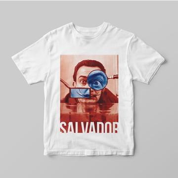 Camiseta Pintor Surrealista Salvador Dalí - dalí verm e azul
