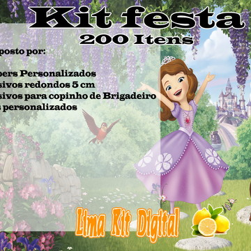 KIt 200 Itens - Princesa Sofia