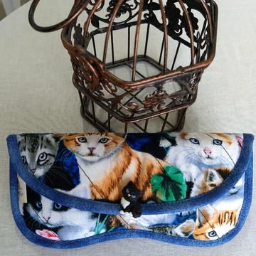 Porta óculos em Patchwork gatos