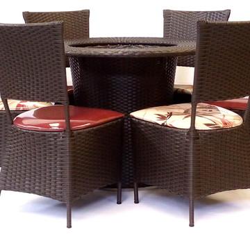 Mesa 6 Cadeiras Cozinha Sala De Jantar Fibra Sintética