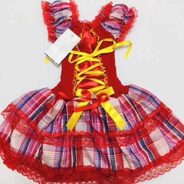 5f162e2b0 Vestido de Festa Junina infantil vermelho Bebê 6/9 meses
