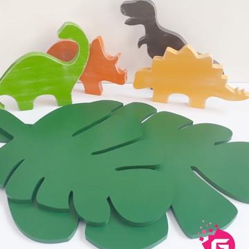 Kit Dinossauros com Folhas Bandeja