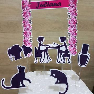 Topo de bolo gatos e manicure