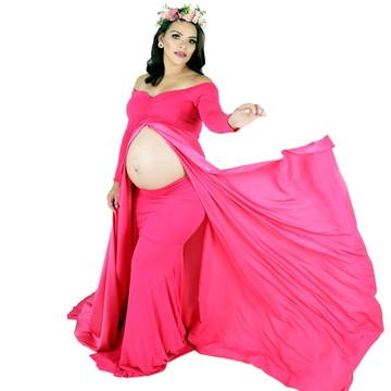 Vestido Ensaio Gestante caldona Luxo, 2 em 1 #EnsaioGestante