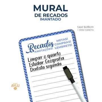 MURAL DE RECADOS IMANTADO AZUL