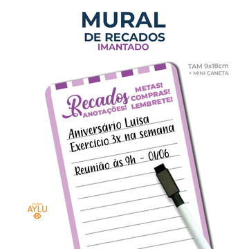 MURAL DE RECADOS IMANTADO LILÁS