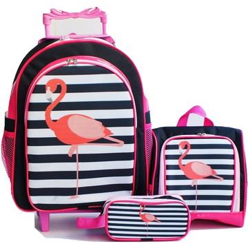 39620ac90 Mochila Flamingo Pink Rodinhas Lancheira Estojo Kit