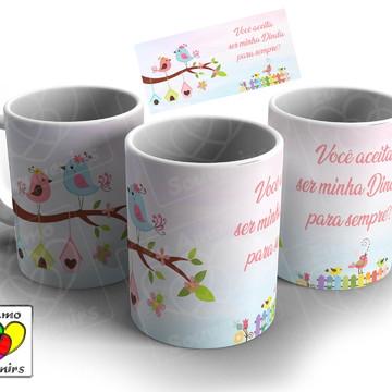 Caneca de Cerâmica - Dinda e/ou Dindo Jardim Encantado