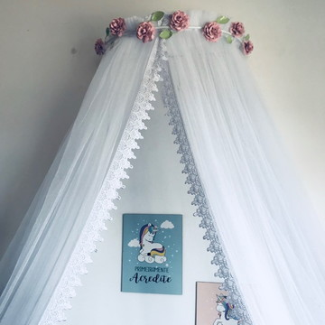 Dossel Flores Branco + Mosquiteiro Tule Renda Guipir