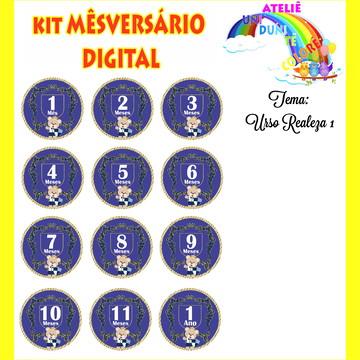 Kit Mesversario (Arte Digital) Urso Realeza1
