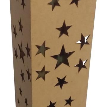 Luminária Cubo Estrelas Provençal em MDF Cru De chão 60cm