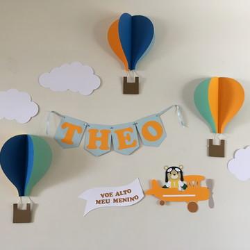 Decoração de Parede e Painel - Festa Balões e Urso Aviador