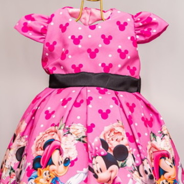 Vestido Minnie Rosa Infantil Luxo