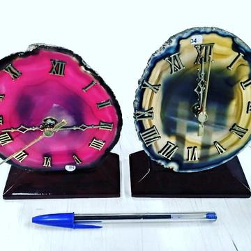 Relógio de Pedra Ágata Semi Preciosa - Casa & design