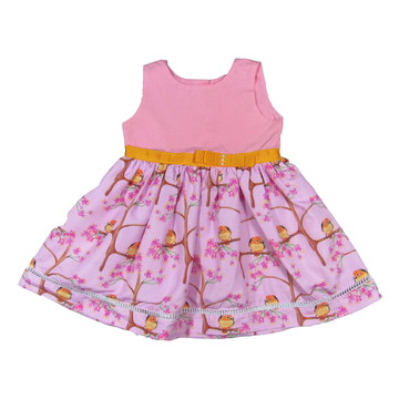 Vestido Passaros Rosas -Infantil 01,02,04 e 06 anos