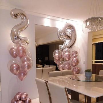 Tufo de Balões à Gás com Número Metalizado