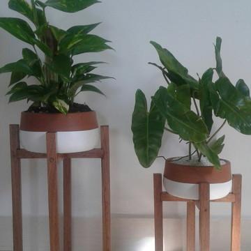 Kit-2 Suportes para Plantas+2 vasos de barro
