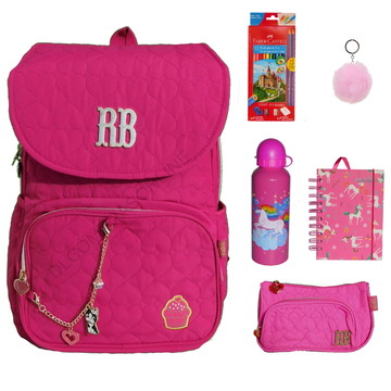 2b5fa2e47 Mochila Bolsa Feminina + Faber Kit Rebecca Bonbon Rosa Pink