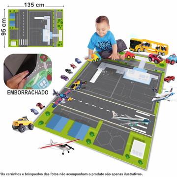 Tapete Emborrachado Aeroporto p/brincar d Avião 95x135cm T15