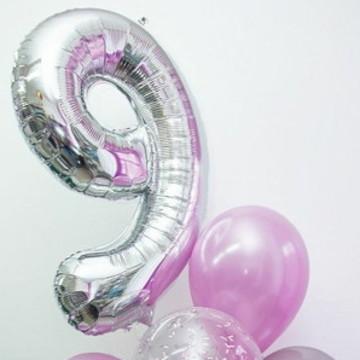 Balão de Número Metalizado com Gás Hélio