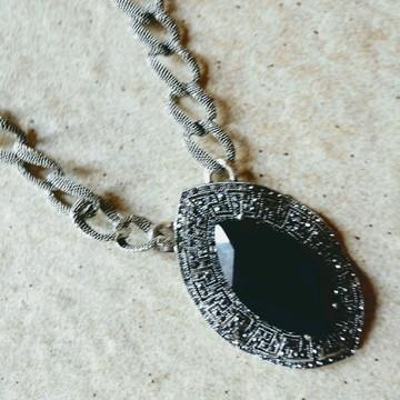 Colar Prata Envelhecida/Pedras