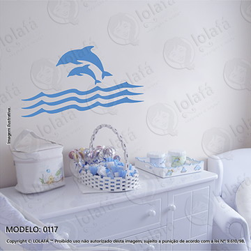Adesivos para Quarto de Bebe Parede 80x44cm Golfinhos