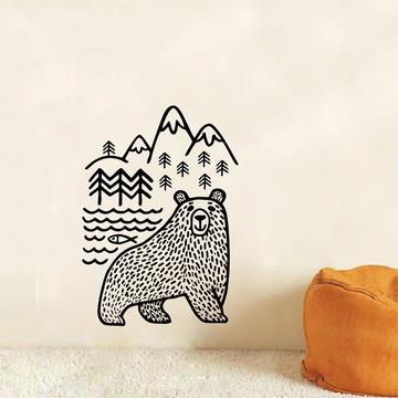Adesivo Decorativo Floresta Montanhas Mamãe Urso