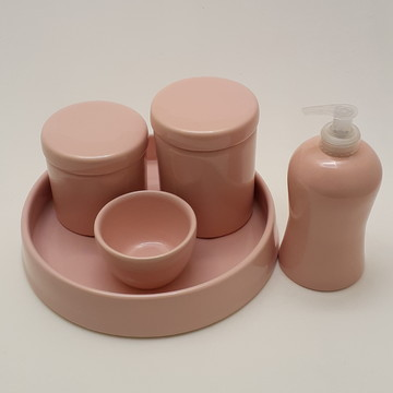 kit Higiene porcelana rosa seco