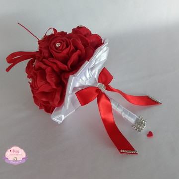 Buquê porta aliança - Vermelho e Branco