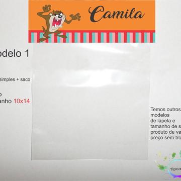 lapela(simples) e saco 10x14-Taz Mania