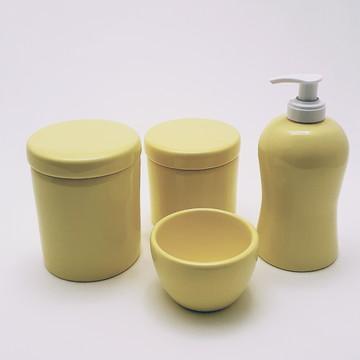 Kit higiene porcelana amarelo sem bandeja