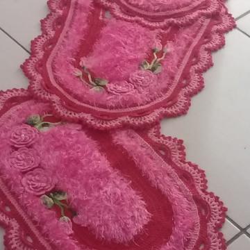 Jogo banheiro vermelho e rosa