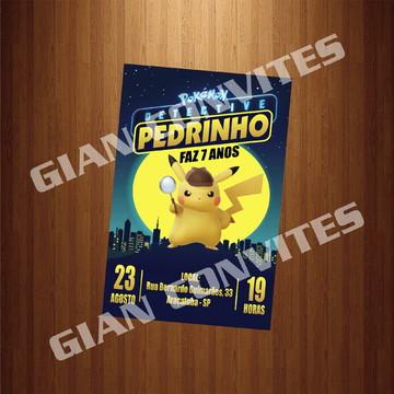 Convite - Tema Detetive Pikachu