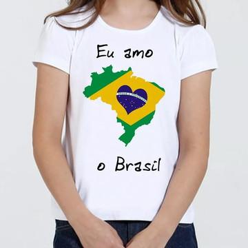Camiseta Camisa Infantil Feminina - Eu Amo O Brasil