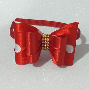 Tiara Minnie Vermelha Com Branco