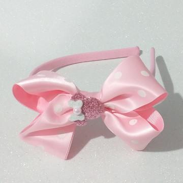 Tiara Boutique Cabeça Minnie Rosa Com Branco