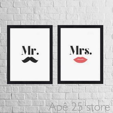 KIT 2 Quadros Decorativos Mr. & Mrs. 26x19cm