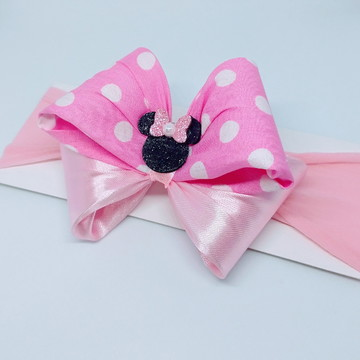 Faixa Estilo Cabeça Minnie Rosa E Branco