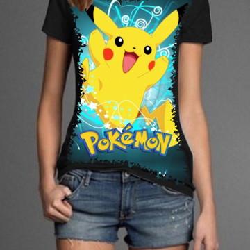 c14ec273df Camiseta Feminina Pikachu Fofo Pokemon