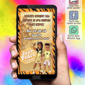Convite ARTE DIGITAL - Os Aventureiros- menino(a) TIGRES