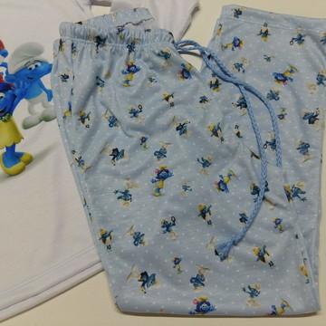Pijama infantil manga longa personalizado Smurfs