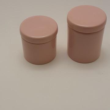 Potes porcelana cotonete algodao rosa seco