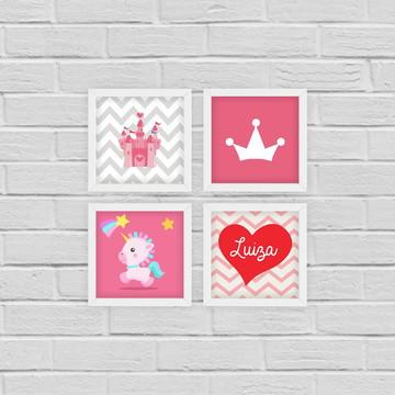 4 Quadrinhos Infantil Princesa c/ Nome Personalizado