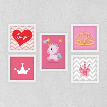 5 Quadrinhos Infantil Princesa c/ Nome Personalizado