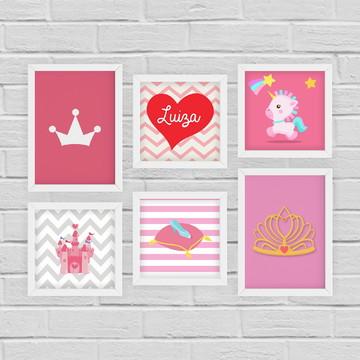 6 Quadrinhos Infantil Princesa c/ Nome Personalizado