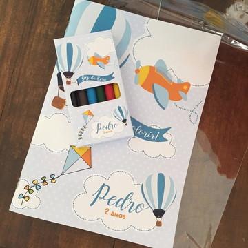 Caderno para colorir + giz de cera